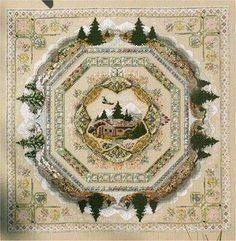 Chatelaine Alpine Seasons Garden - Cross Stitch Pattern. Model stitched on 32 Ct. Belfast Linen with Needlepoint Silk Inc, Caron Collection Waterlilies, Glorian