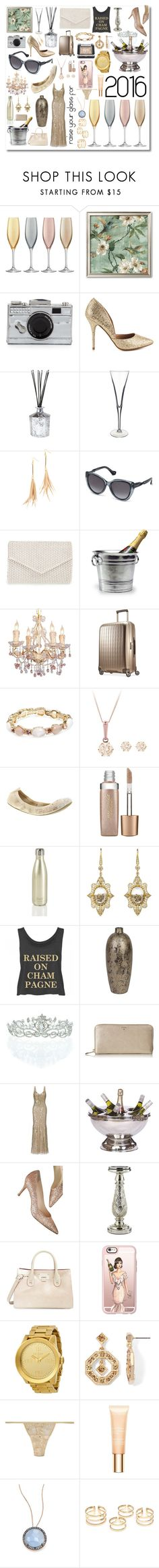 """raise your glass to 2016"" by diydesign ❤ liked on Polyvore featuring interior, interiors, interior design, home, home decor, interior decorating, LSA International, Kate Spade, Chinese Laundry and D.L. & Co."