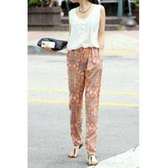 Vintage Scoop Neck Special Print Color Matching Chiffon Women's Jumpsuits
