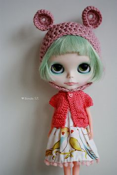 lovely Blythe with awesome hat, cardigan and dress via SweetTricot on Ravelry #blythe #knitting #crochet
