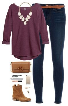 """""""statement necklace"""" by classically-preppy ❤ liked on Polyvore featuring J Brand, Ganni, H&M, Kendra Scott, Sole Society, Tory Burch, NARS Cosmetics and J.Crew"""