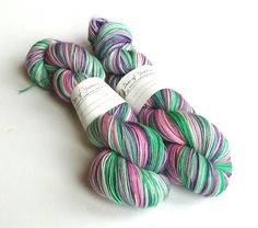 Hand dyed yarn - Bouquet. High twist sw merino/nylon sock weight yarn, fingering, 4-ply. Pinks, greens, purples variegated yarn. Shawl, sock by FeltFusion on Etsy
