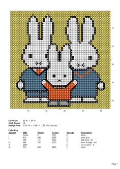 Miffy and family Cross Stitch For Kids, Cross Stitch Baby, Cross Stitch Embroidery, Embroidery Patterns, Crochet Patterns, Cross Stitch Designs, Cross Stitch Patterns, Pixel Crochet Blanket, Especie Animal
