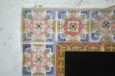 Firebox border created with hand-painted Andalucia Spanish #tile.