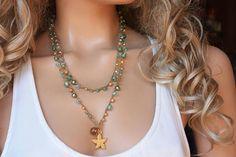 Beachy Long 6x Crochet Wrap Bracelet Necklace, Bohemian Jewelry