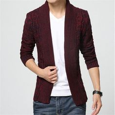 Men Cardigan Sweater Brand Design Autumn Spring Warm Knitted Sweater Male Slim Fit Wool Casual Fashion Cashmere Sweater F1870