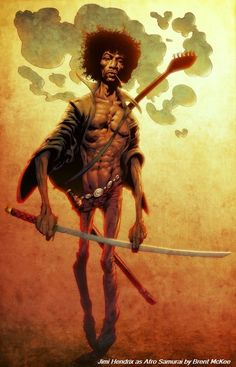 Jimi Hendrix as Afro Samurai by Brent McKee