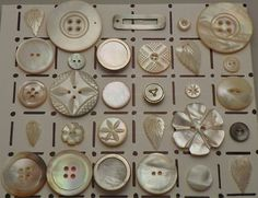 button collection - mother of pearl, abalone, carved, floral
