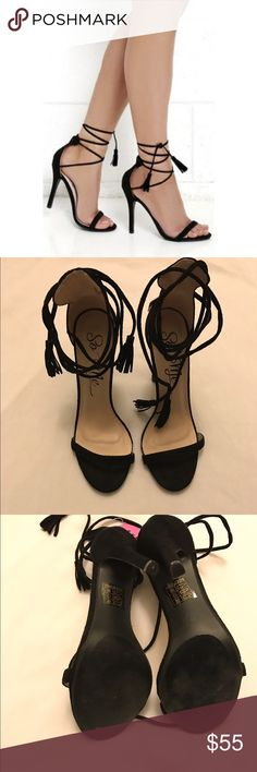 """NEW Lulu's Black suede lace up heels size 7 Brand new never before worn black suede lace up heels size 7!! The end has tassels and they are super adorable! Brand is called """"so me"""" bought at LULU's but were too big and never returned!! **feel free to ask me any questions or make me an offer** HAPPY POSHING  Lulu's Shoes Heels"""