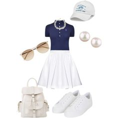 A fashion look from March 2015 featuring polo tops, long skater skirt and lace up shoes. Browse and shop related looks.