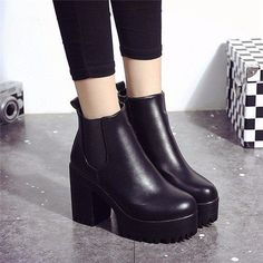 Pure Color Pu European Style Slip On Ankle Chunky Heel Block Zipper Boots is hot-sale. Come to NewChic to buy womens boots online. Chunky Heel Ankle Boots, High Heel Boots, Chunky Heels, Heeled Boots, Shoe Boots, Women's Shoes, Platform Boots, Chunky Boots, Ankle Booties