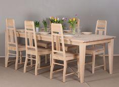 Koivupöytä 225x105 cm ja Jugend-tuolit. Kevyt ja siro ruokaryhmä Decor, Furniture, Bar Table, Home Art, Dining, Dining Table, Table, Home Decor
