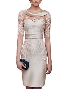 Lilybridal Women's Short Lace Prom Mother of the Bride Dress with Sleeves Champagne US20W