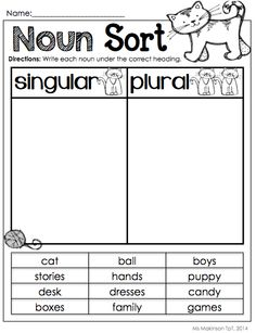 Worksheet Singular And Plural Nouns Worksheet singular and plural nouns assessment common core standards on pinterest