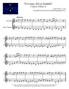 """O Come, All ye Faithful"" (Easy) for Alto Sax & Bass Clarinet 