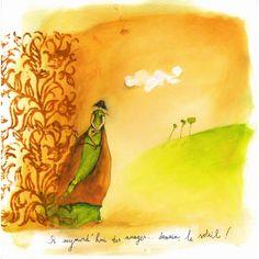 """Anne-Sophie Rutsaert carte postale carrée (14 cm) """"Si aujourd'hui des nuages..."""""""