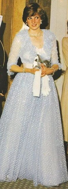 234) June 11, 1981 - Lady Diana, at the Claridges Hotel.  Diana had borrowed the Queen's necklace for the occasion of King Khalid's banquet.