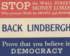 Back Lindbergh for president sticker. Jewish Federation Council of Greater Los Angeles' Community Relations Committee Collection.