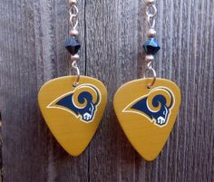 Los Angeles Rams Guitar Pick Earrings with a Metallic Blue Crystal by ItsYourPickToo on Etsy