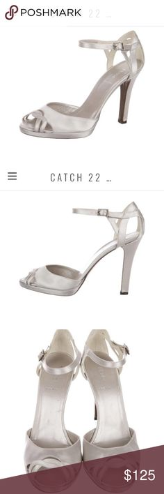 05ad4543841 Fendi Silver Satin Peep-Toe Sandals Sz 38.5 (US 8)   DRESSY