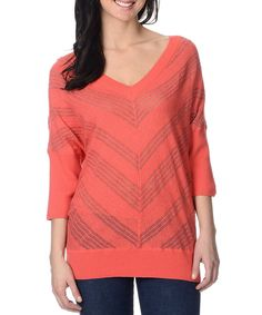 Another great find on #zulily! Pink Semisheer Pointelle Chevron V-Neck Sweater by YAL #zulilyfinds