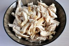Simple Shredded Chicken | click on pictures in collages for recipes that use the shredded chicken