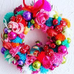 Bonte kleurig krans- kerstkrans pimpen kerstdecoraties