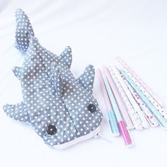 Cute Whale Shark Pencil Case Zipper Pouch Gray Polka by Yueeeru