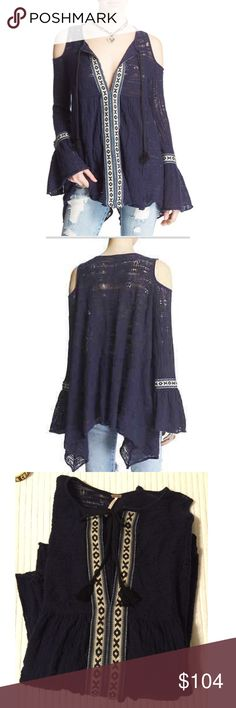 """FP """"for The Love Of Flowers"""" Cold Shoulder Tunic Free People Women's Multicolor 'for The Love Of Flowers' Cold Shoulder Tunic NWT flawless size. Perfect summer tunic :) so soft !! All over knit texture. Cotton / Nylon tie at neckline, bell sleeves Free People Tops Tunics"""