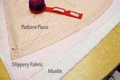 how to cut slippery fabrics