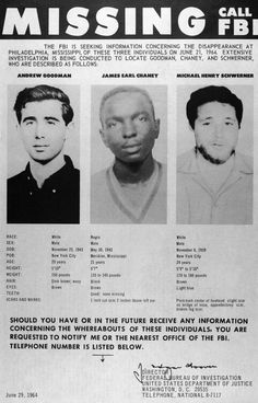 50 years since civil rights activists Andrew Goodman, James Earl Chaney and Michael Henry Schwerner went missing in Mississippi {06.21.14}