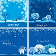 4 Winter Scene Card Backgrounds Set - http://www.dawnbrushes.com/4-winter-scene-card-backgrounds-set/