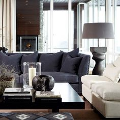 Décor Inspiration: A Cosy Ski Lodge with a Warm Fire Home Living Room, Interior Design Living Room, Living Spaces, Beautiful Living Rooms, Beautiful Interiors, Piece A Vivre, Living Room Inspiration, Sofa Design, House Design