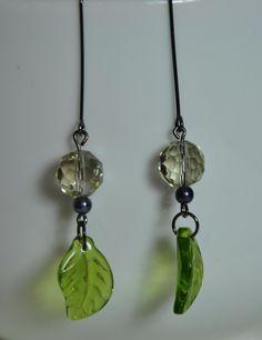 Items similar to Leaf Earrings. peridot earrings. Glass Dangle Earrings. Ladies Earrings on Etsy