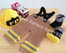 CROCHET PATTERN, 3 Month Size, Baby Firefighter Fireman Hat, Pants, Suspenders & Boots