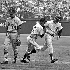 1964 World Series, the Mick walking off with Ken Boyer and Frank Crosetti