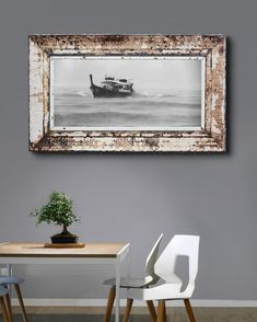 Large print on canvas in pressed steel frame. The antique pressed steel frame with its beautiful patina lends texture and authenticity to this vintage scene. Framed Canvas Prints, Canvas Frame, Steel Frame House, Ceiling Panels, Large Prints, Authenticity, Cotton Canvas, Upcycle, Scene