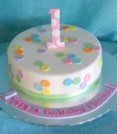 Simple Design First Birthday Cake 1st Bday Girls Ideas