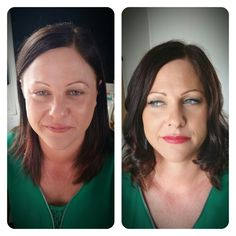 Glam red lip. Before and after.