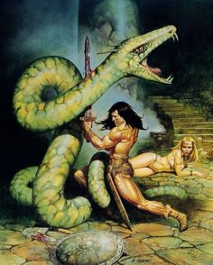 m Barbarian Sword Giant Snake f npc Captiver wilderness cave dungeon Conan the Barbarian - art by Blas Gallego Fantasy Heroes, Fantasy Warrior, Fantasy Characters, Dark Fantasy, Comic Books Art, Comic Art, Conan Der Barbar, Robert E Howard, Conan The Destroyer
