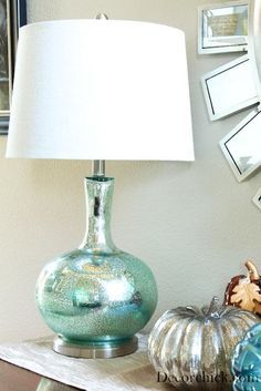 Bedside lamps with drum shades - Use Looking Glass spray to create a mercury glass effect on thrift store lamps.