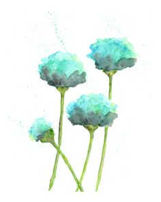 watercolor flower painting, watercolor poppies, flower art, abstract flower painting, poppy painting, mint green, modern - 8X10 print by ThimbleSparrow on Etsy