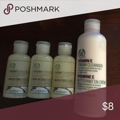 Body Shop Cleansers & Shower Cream (1) Body Shop Vitamin E Cream Cleanser 6.7 fl oz and (3) Coconut Shower Cream.  Unused.  Smoke free home.  Will combine shipping, please bundle when shopping.  Thanks for looking. The body shop Other