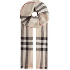 BURBERRY Giant check Guaze scarf ($425) ❤ liked on Polyvore