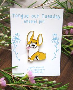 Celebrate tongue out Tuesday every week with corgi flair! Show off your corgi love with this 1.5 inch enamel pin. Take him with you wherever you go