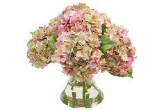 """15"""" Hydrangeas in Vase, Pink on OneKingsLane.com"""
