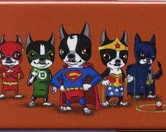 Boston Terrier Justice League Magnet Set by rubenacker on Etsy