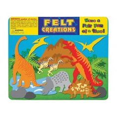 FELT CREATIONS - DINOSAURS  Use your imagination and create a wonderful world of fantasy with Felt Creations. Stick the felt pieces on the Felboard and rearrange them any time. Felt puzzles are non-messy and once a scene is completed, little ones can start all over again. Collect and combine different Felt Creations sets and formulate an infinite number of stories. #alltotstreasures #feltcreations #dinosaurs