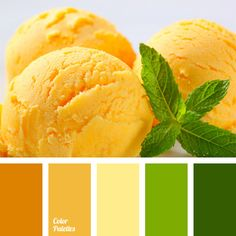 Contrasting combination of warm natural hues of yellow and green. Color scale is bright enough, but not tiring. You can use this color palette to design a.