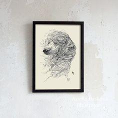Greyhound Dog Portrait / Wall Art Decor / Ink Drawing/ Print